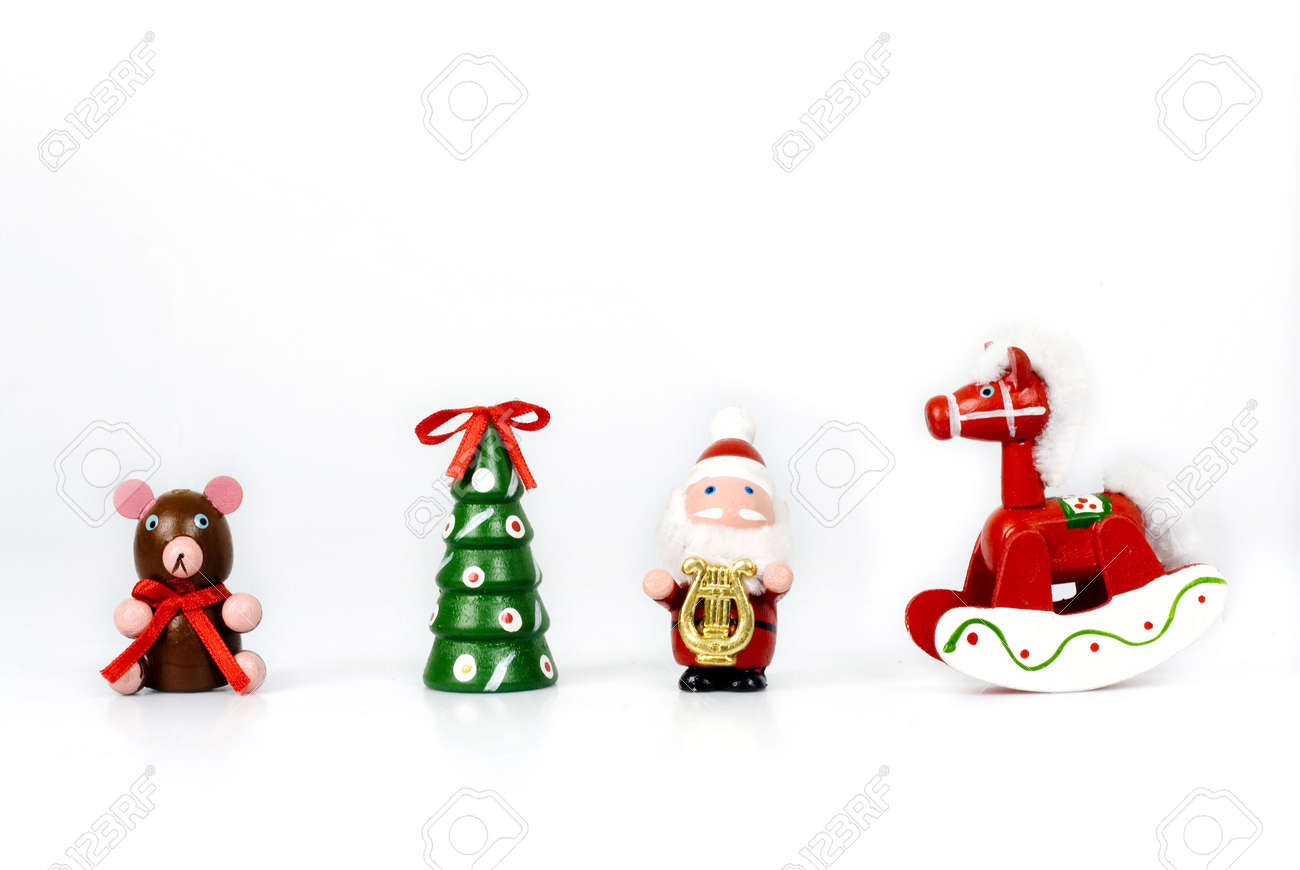 Christmas Ornaments Hand Made In Wood Teddy Bear, Tree, Santa Claus,