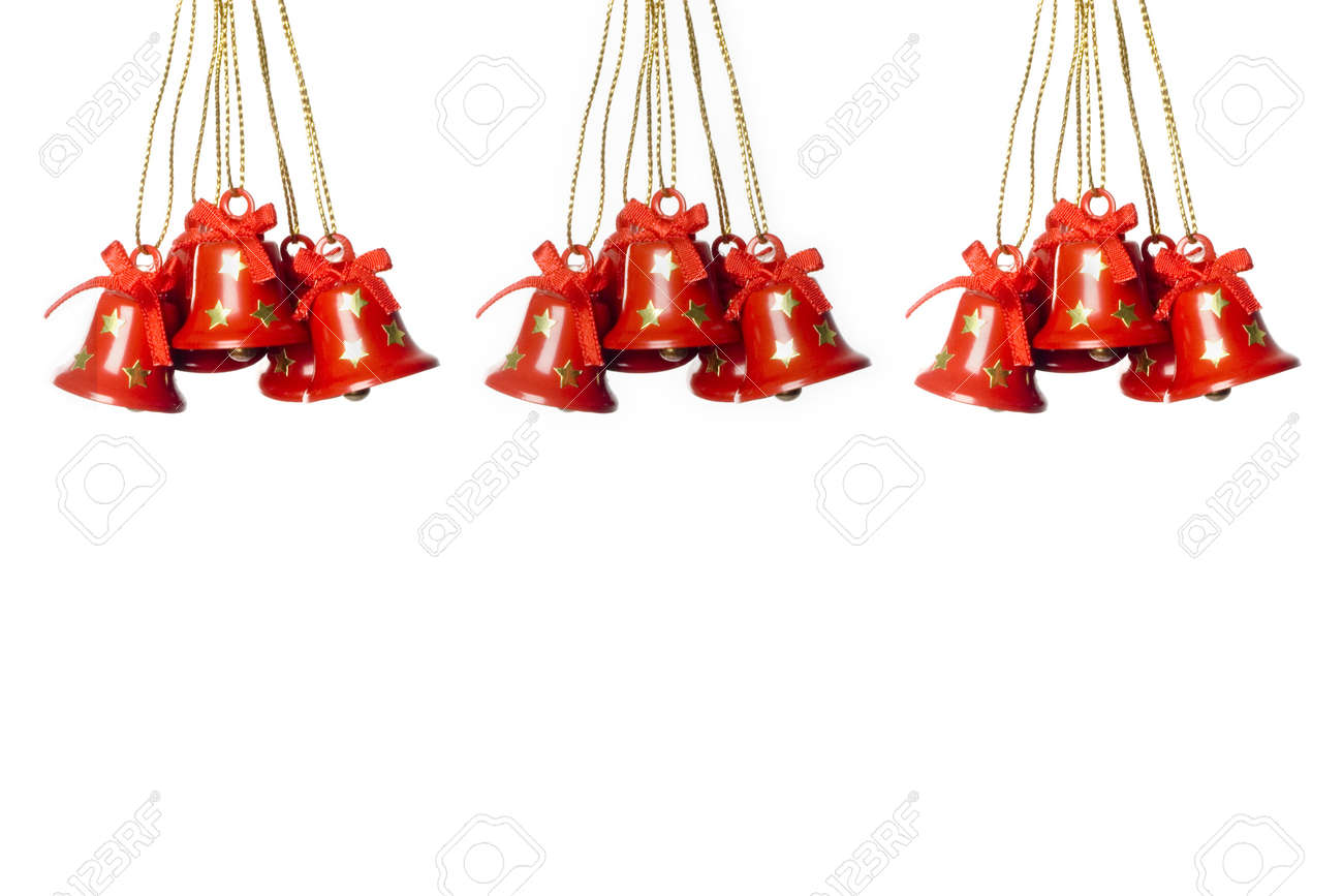 three goups of hanging tinkle bells. horizontal image. Stock Photo - 3945005