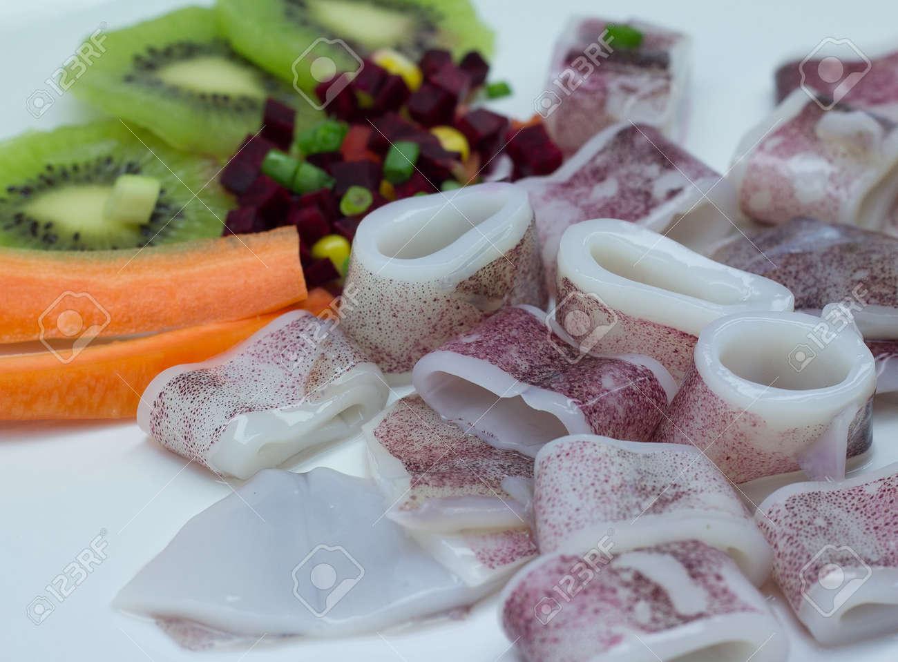 Calamari, inktvis ring, kleurenfoto, koel, knippen, delicatesse ...