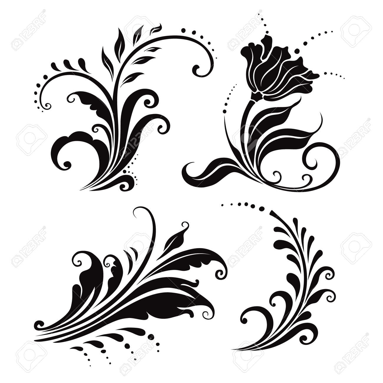 vector illustration. four black and white floral elements - 5167700