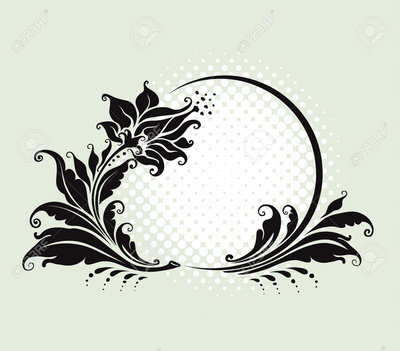 vector illustration. four black and white floral frame - 5167701