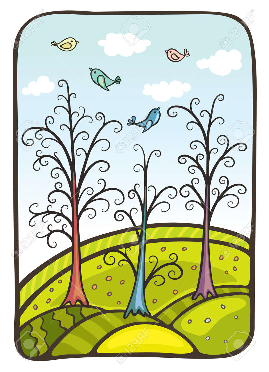Vector illustration. Four birds fly by above a fantastic wood and hills - 5244388