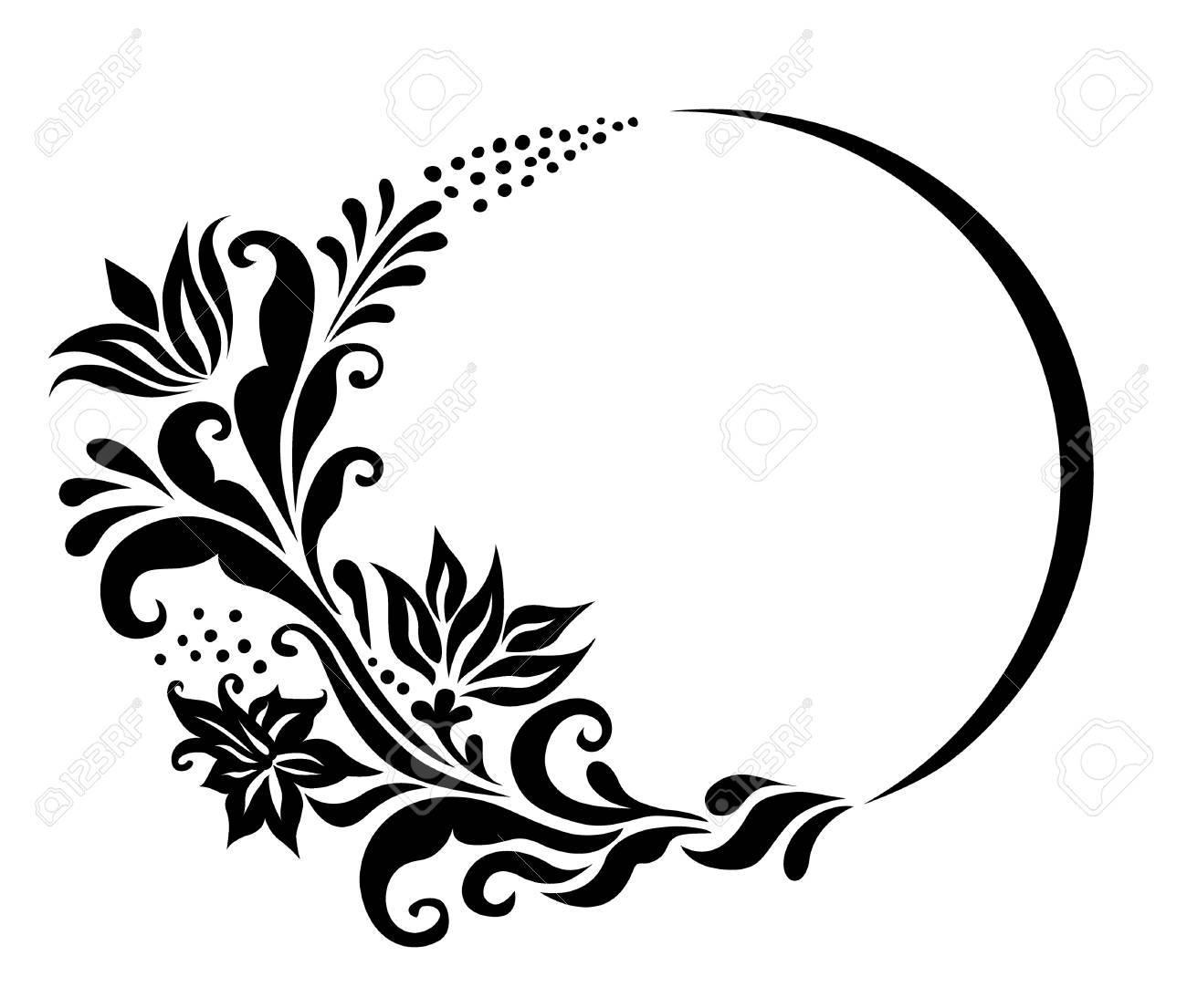 vector illustration.black and white floral element - 5244387