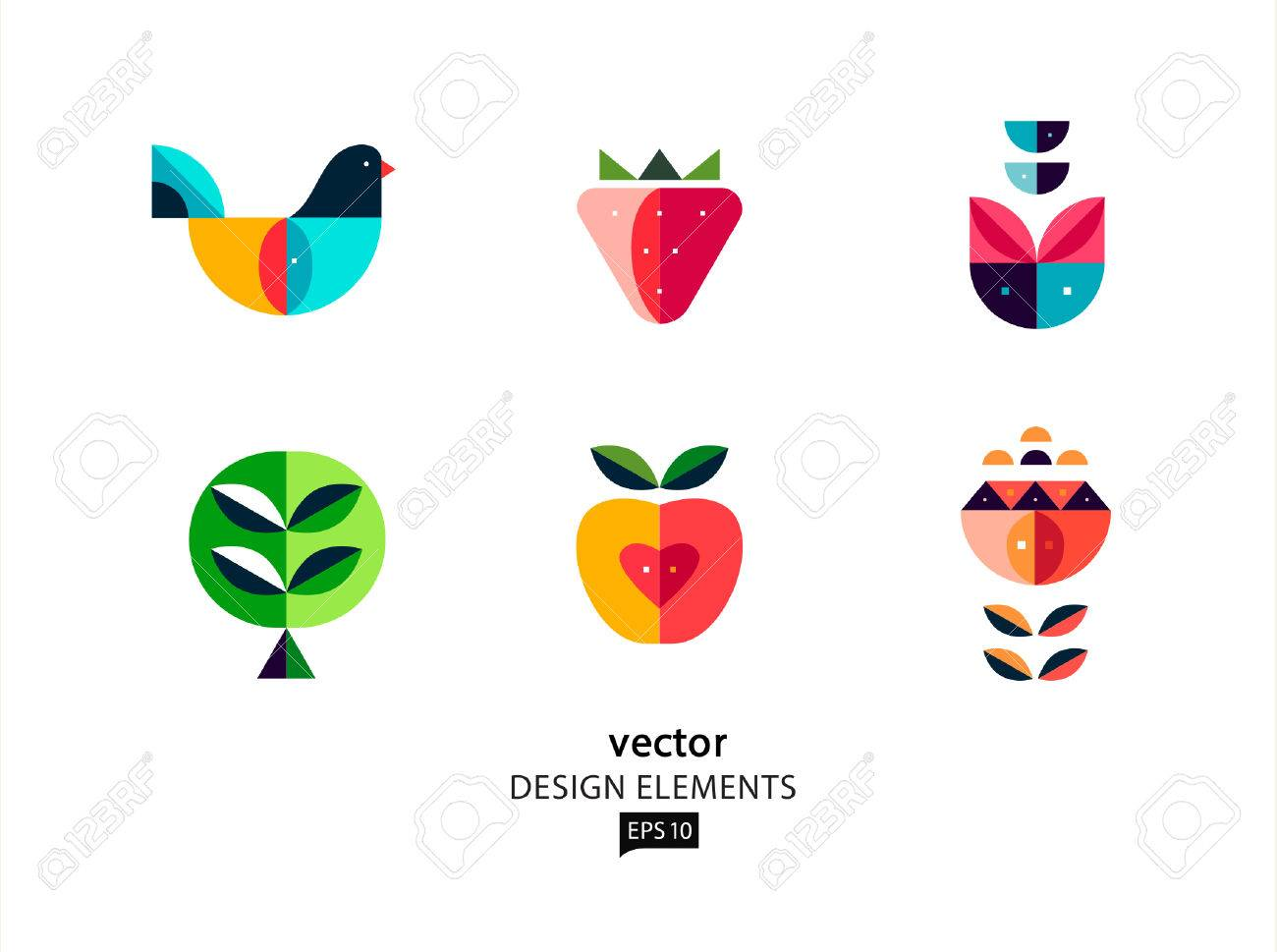 Vector design elements geometric bird and flower - 38662567