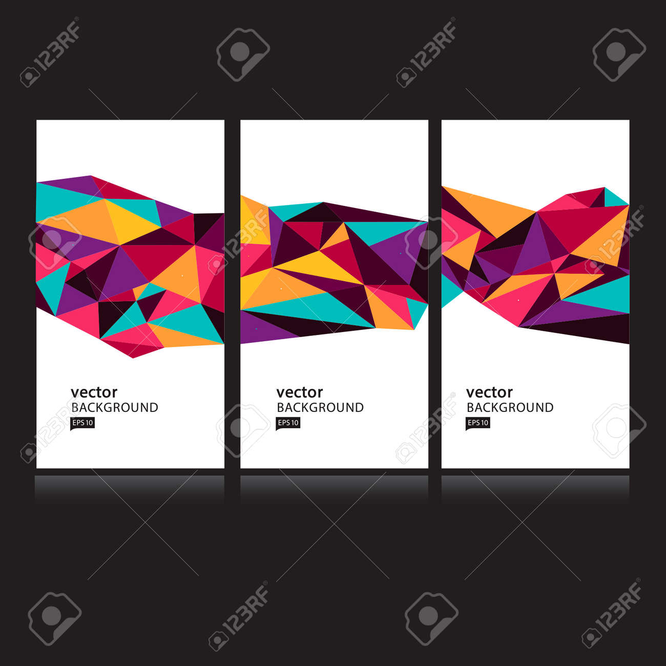 Vector Abstract Geometric Polygon Background. Card set - 38662577
