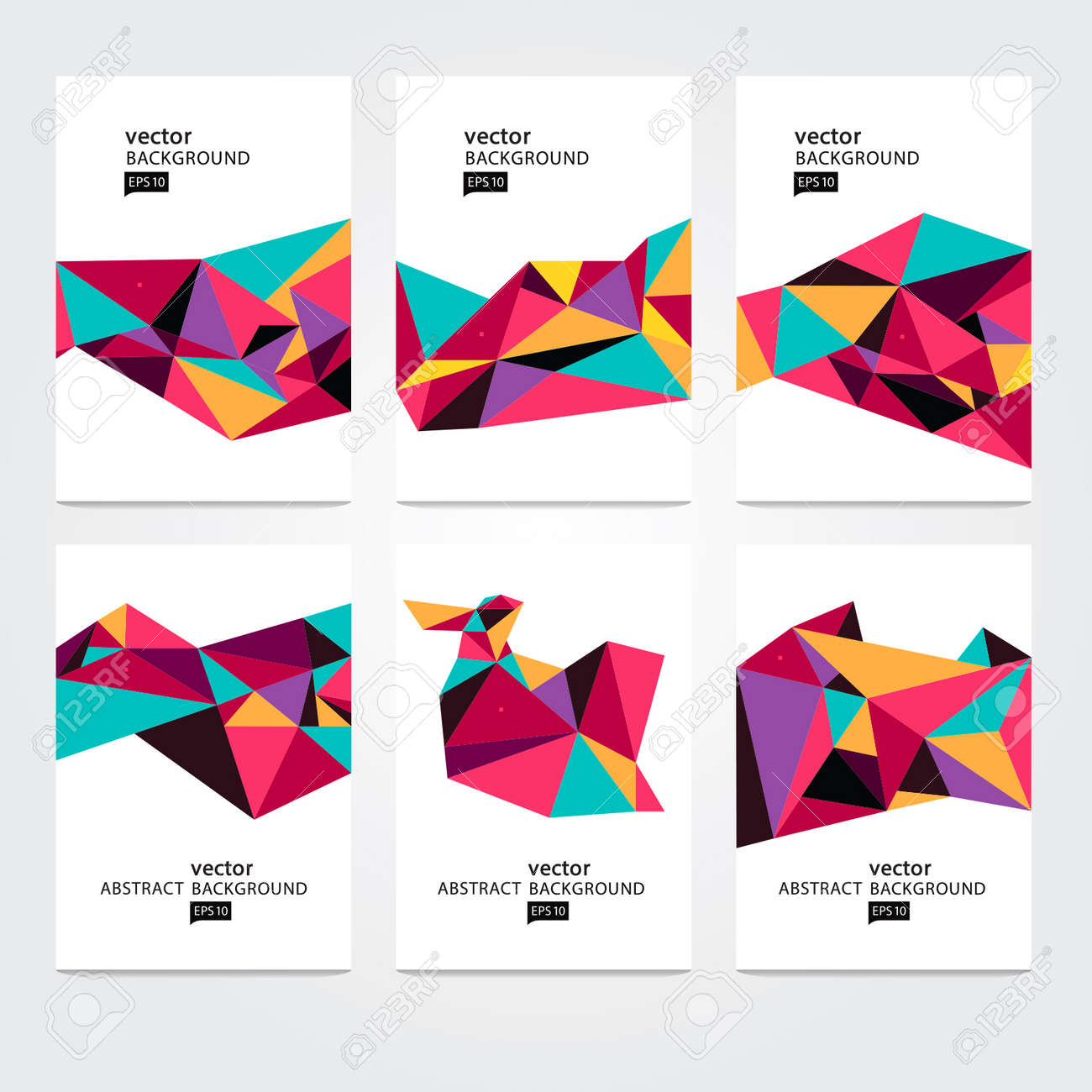 Vector Abstract Geometric Polygon Background. Card set - 38662578