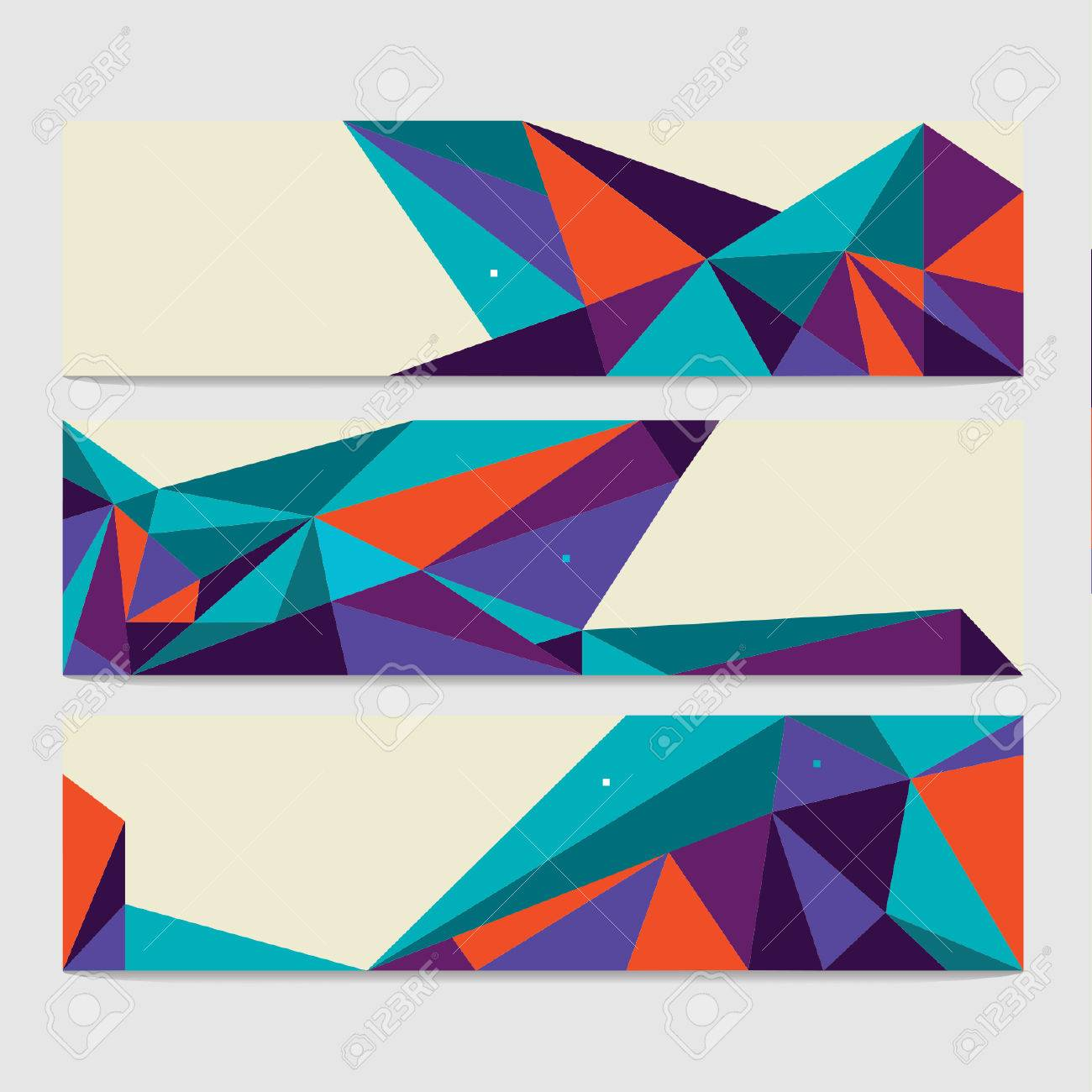 Vector Abstract Geometric Polygon Background. Header Set - 38662579