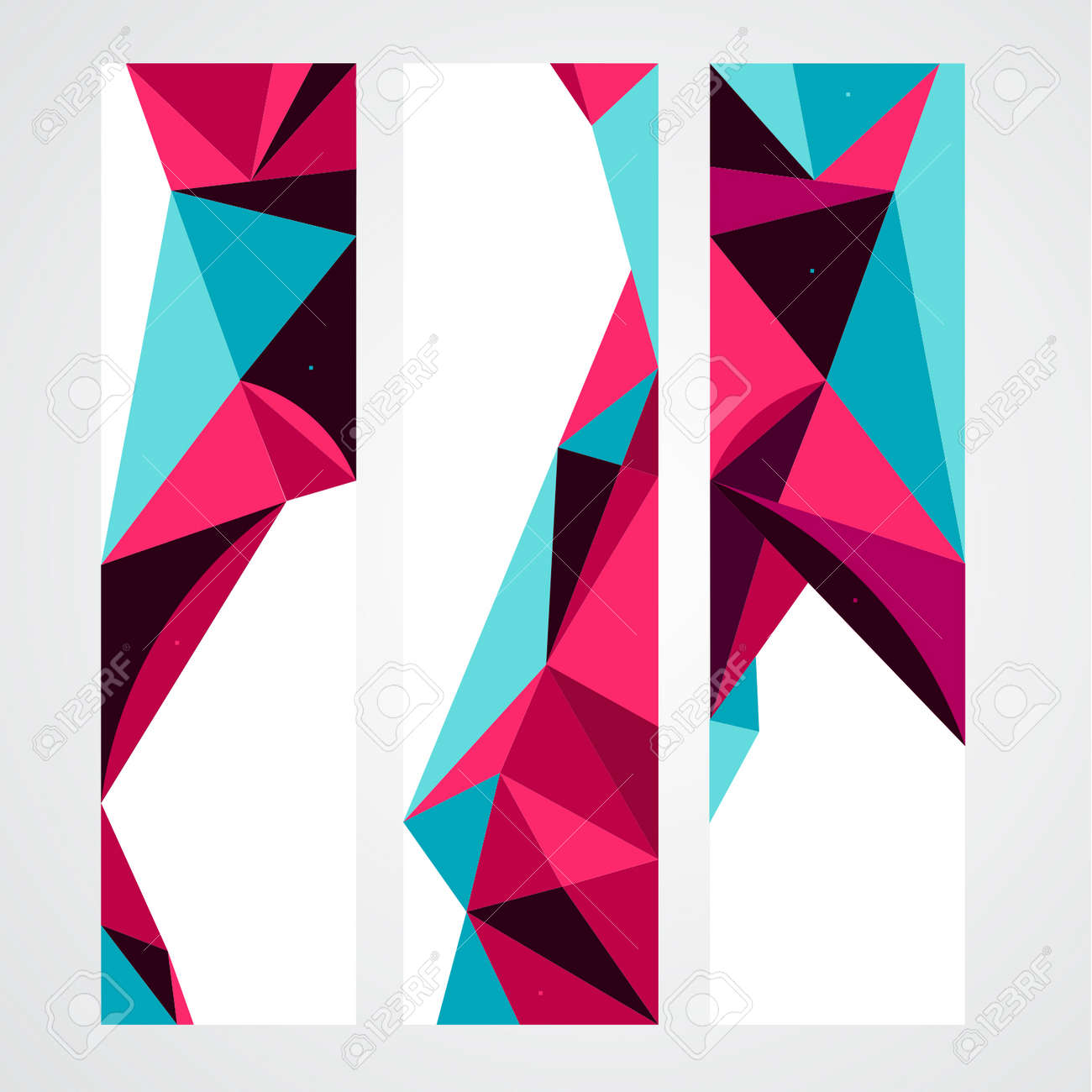 Vector Abstract Geometric Polygon Background. Header Set - 38662599