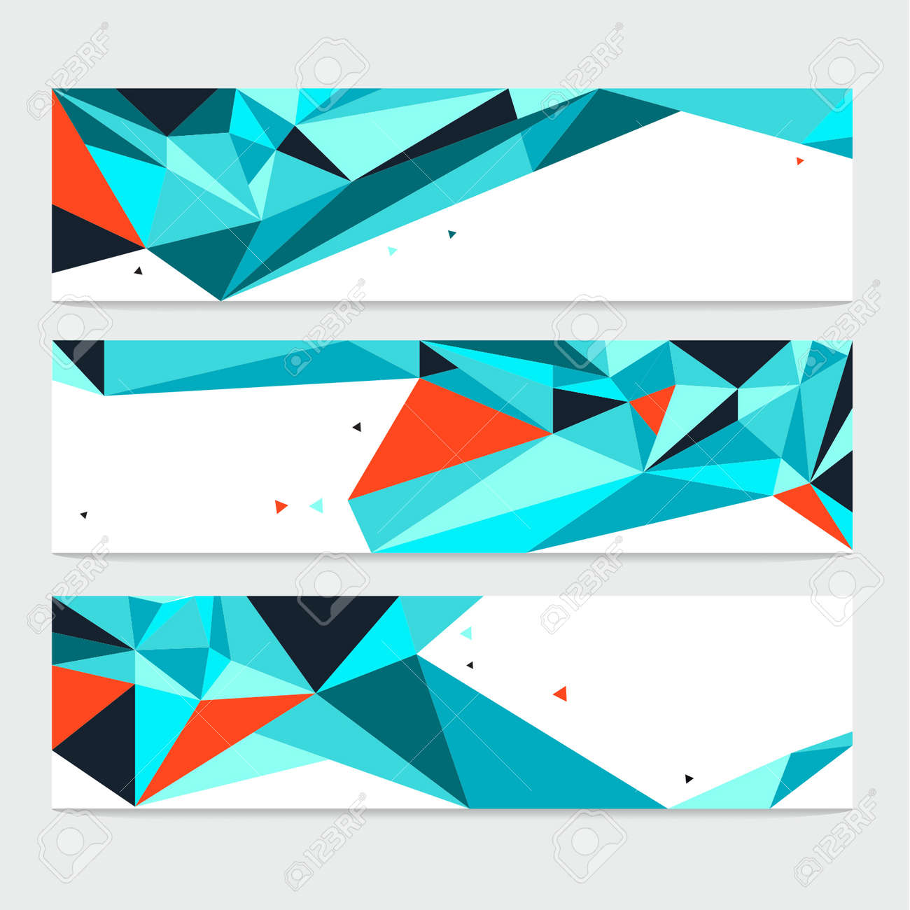 Vector Abstract Geometric Polygon Background. Header Set - 38662606