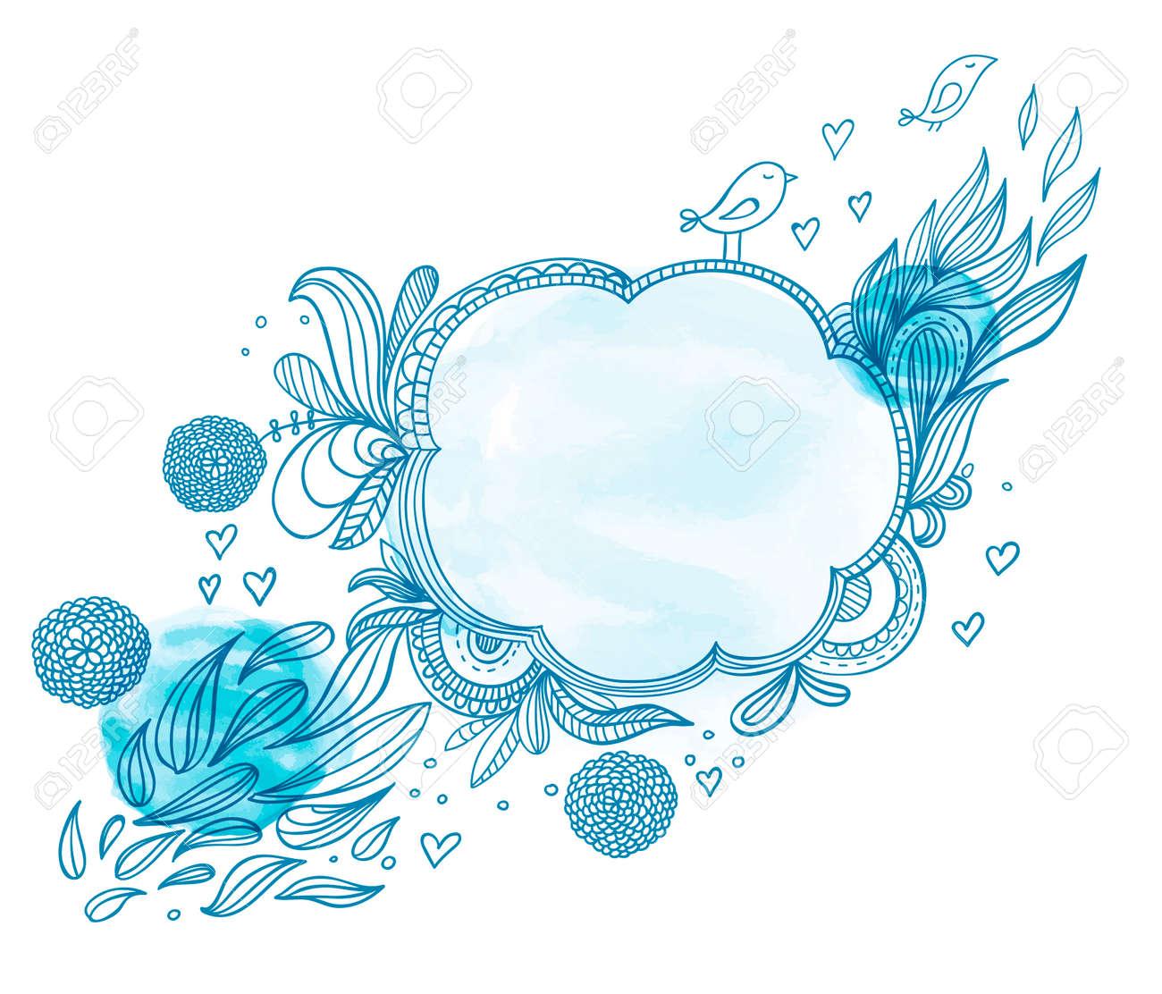 Doodle frame.Vector illustration, flowers and birds. hand drawn frames. - 39374193