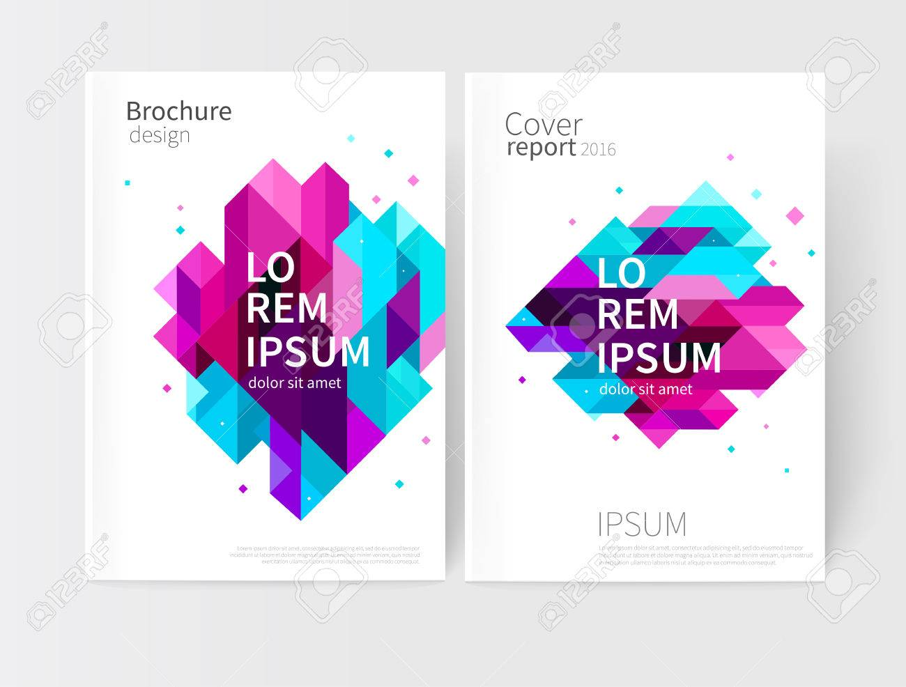 Brochure, leaflet, flyer, cover template. Abstract background blue, purple, violet & pink diagonal lines & triangles. stock-vector EPS 10 - 62836995