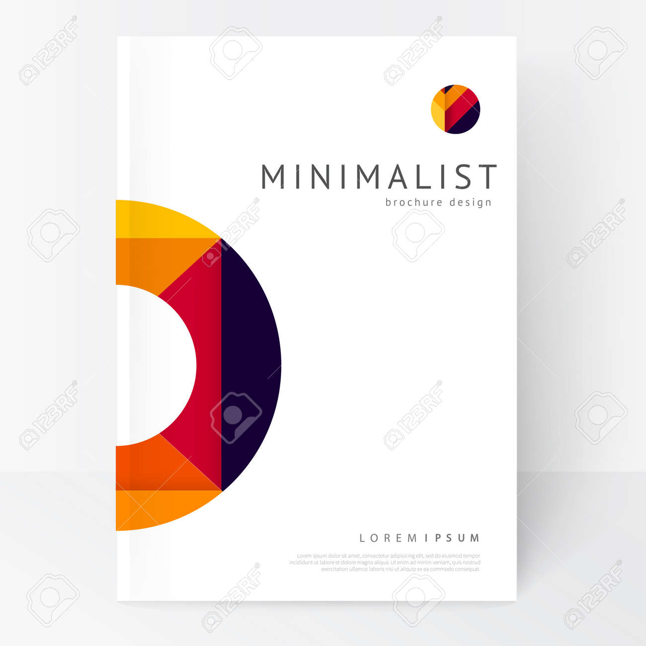 Minimalistic white brochure template. Book design creative concept cover for catalog, report, brochure. abstract geometric background. - 65425731