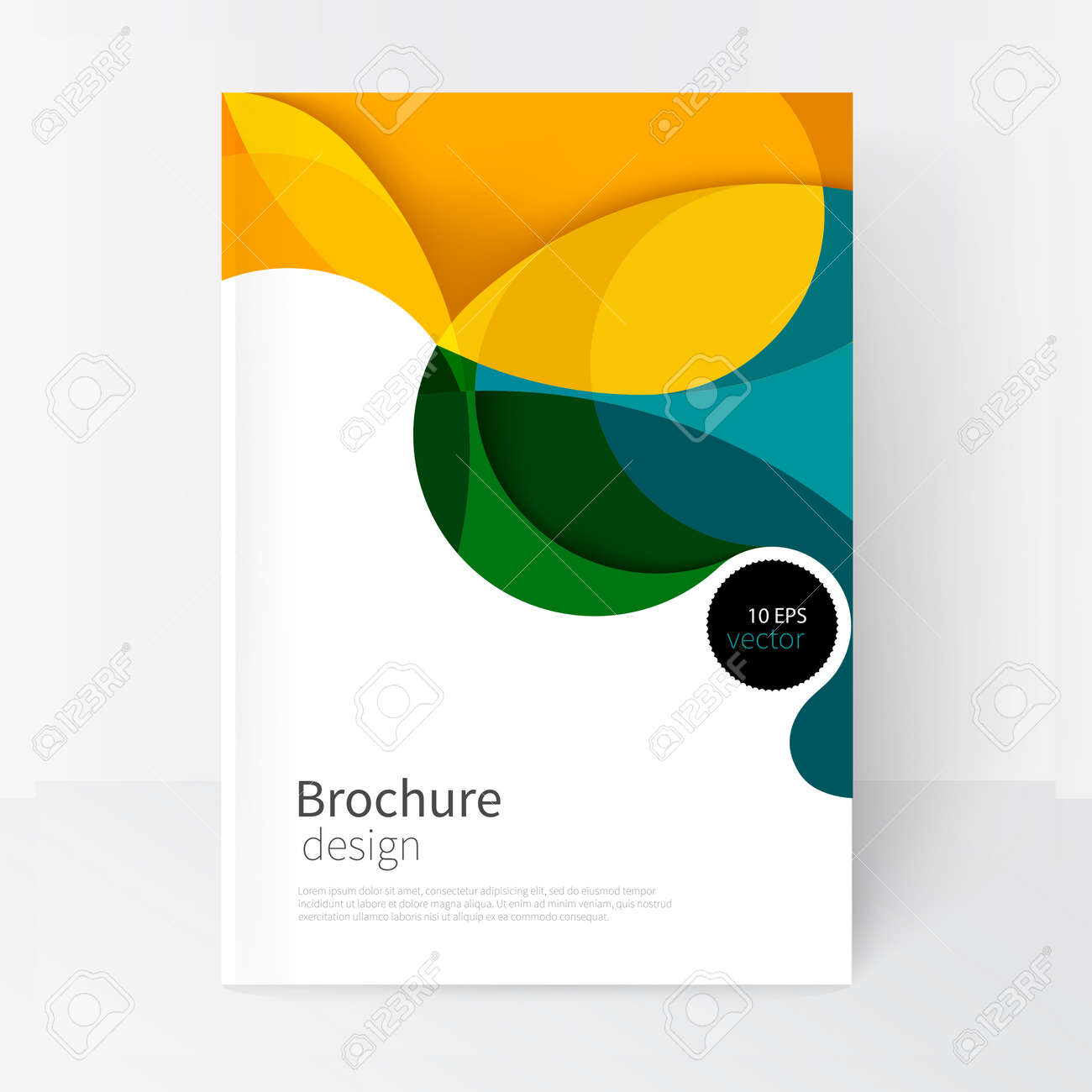 vector white business brochure cover template.modern abstract background green, yellow and blue waves - 65590328