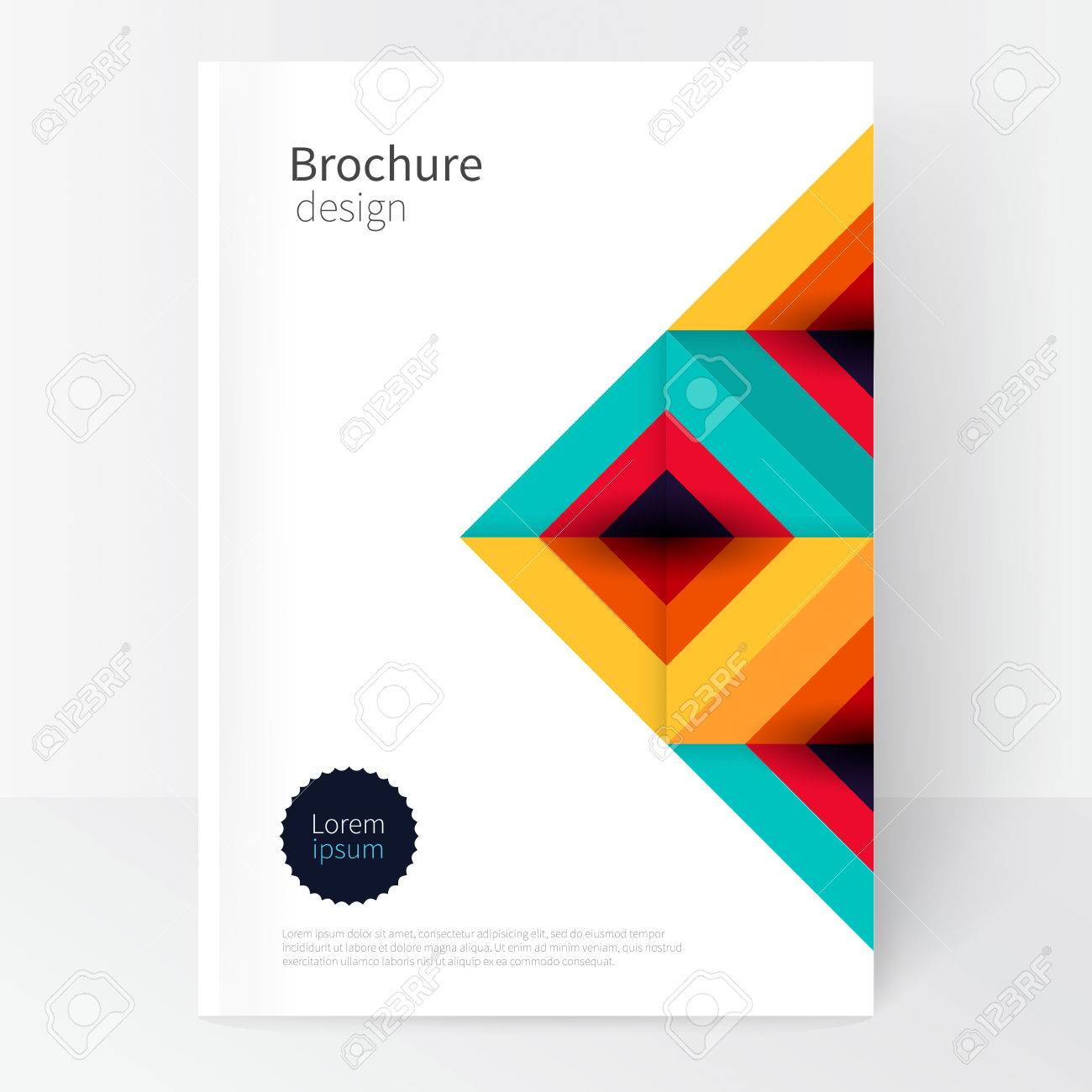 Modern Minimalistic cover template. Book design creative concept cover for catalog, report, brochure. turquoise, red & yellow abstract geometric background.geometric shapes Squares and triangles - 65425892