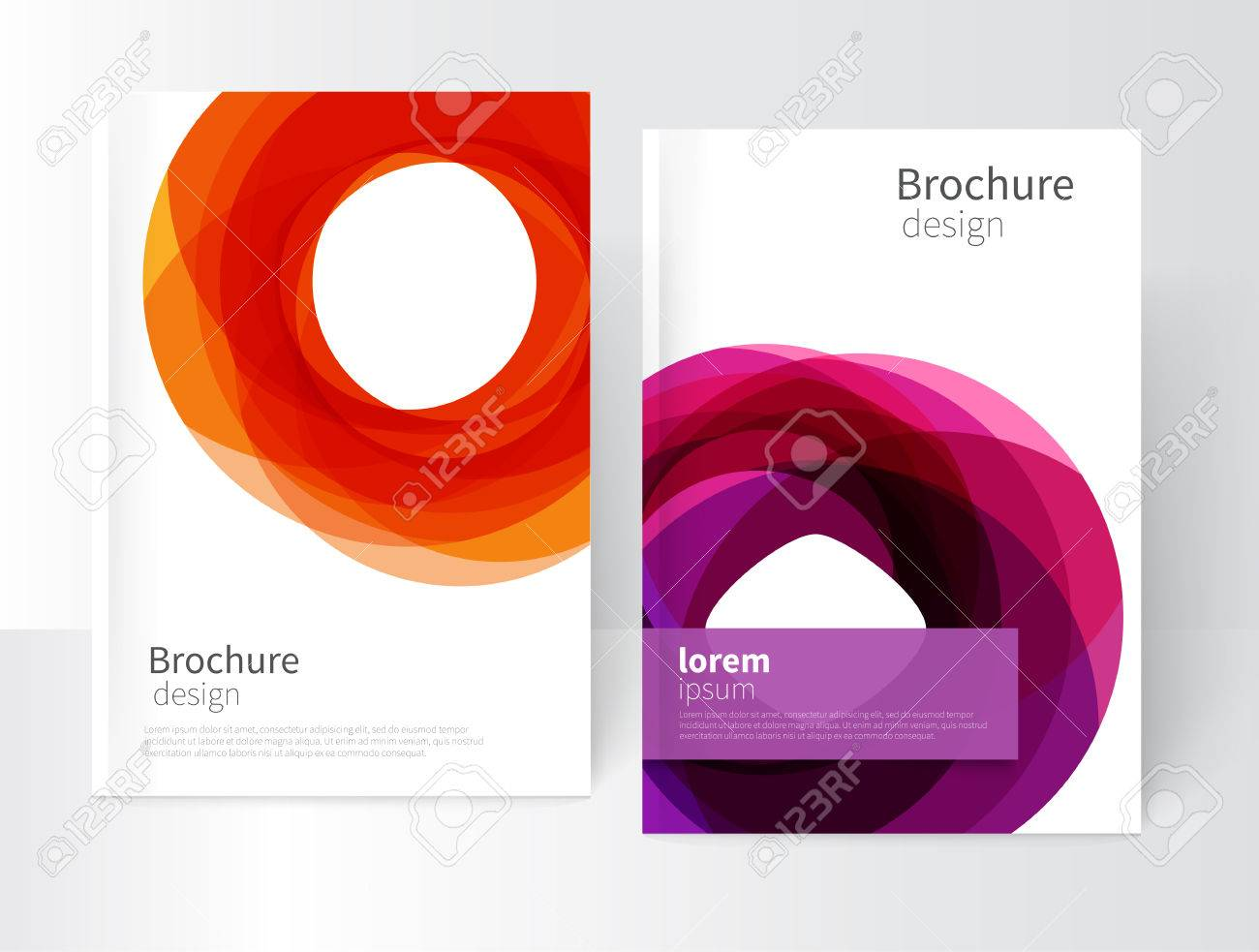 Vector Abstract Business Brochure, Annual Report, Flyer, Leaflet Cover Template. Geometric abstract background yellow and purple circles intersecting. concept catalouge design. EPS 10 - 65425994