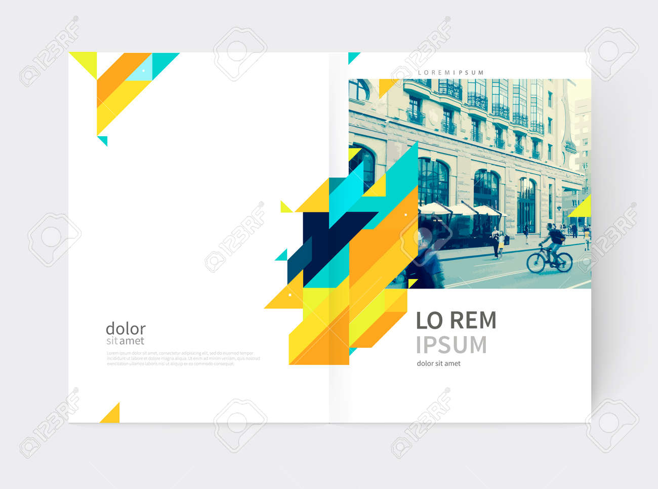 Minimalistic yellow Brochure. Flyer, booklet, annual report cover template. a4 size. modern Geometric Abstract background. Yellow and blue diagonal lines and triangles. - 65765694