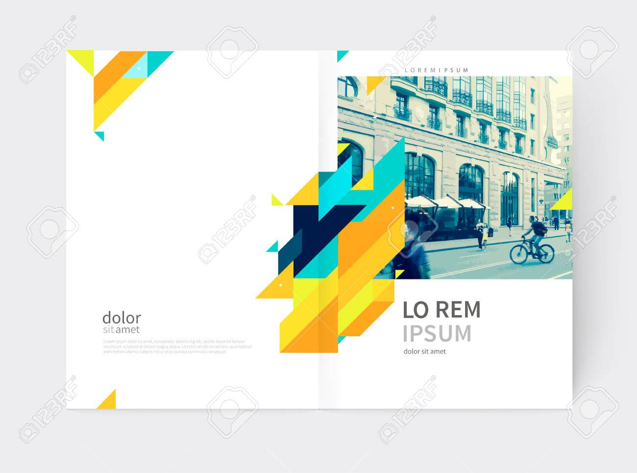 Minimalistic yellow Brochure. Flyer, booklet, annual report cover template. a4 size. modern Geometric Abstract background. Yellow and blue diagonal lines and triangles. - 65541887