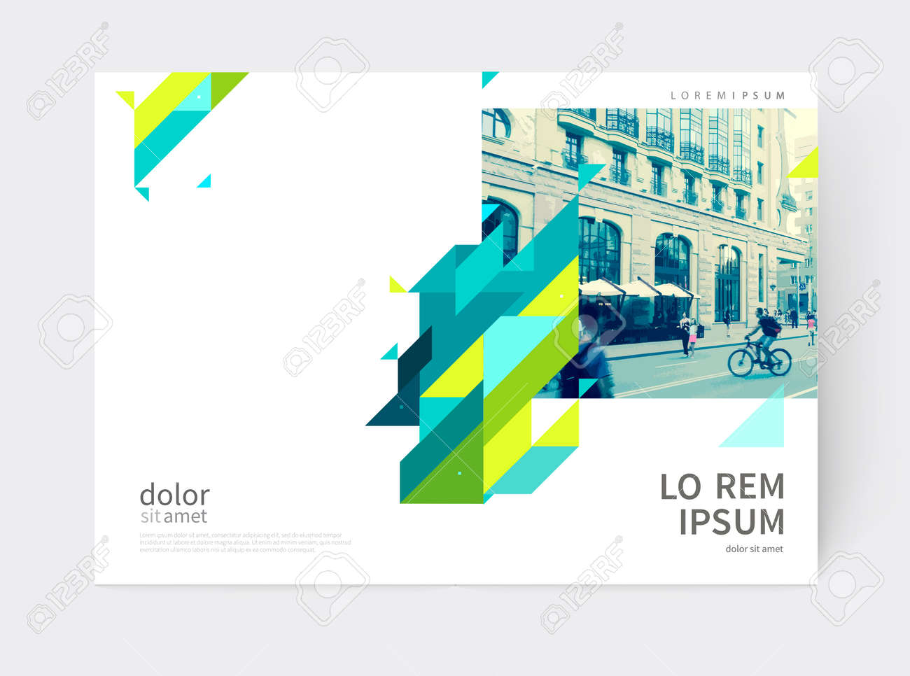 Minimalistic Brochure design. Annual report cover template. a4 size. Blue, yellow and green diagonal lines and triangles. - 65541995