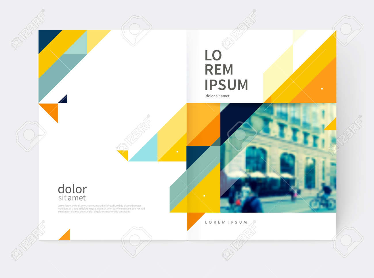 Minimalistic Brochure design. Annual report cover template. a4 size. Blue, yellow and gray diagonal lines and triangles. vector-stock illustration - 65542002