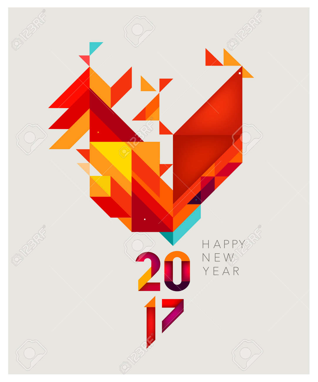 Minimalistic Vector abstract illustration. Red Rooster of geometric shapes. Chinese New Year 2017. - 65663540