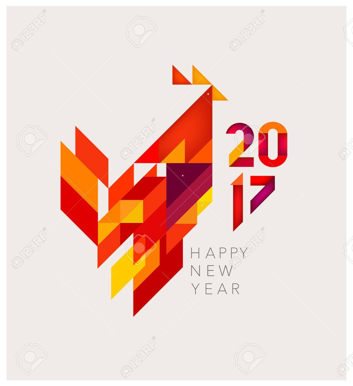 Minimalistic Vector abstract illustration. Red Rooster of geometric shapes. Chinese New Year 2017. - 65663564