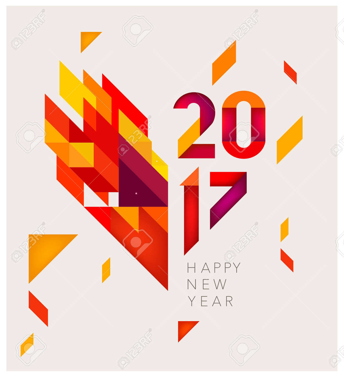 Minimalistic Vector abstract background. Red and yellow geometric shapes. New Year 2017. - 65663573