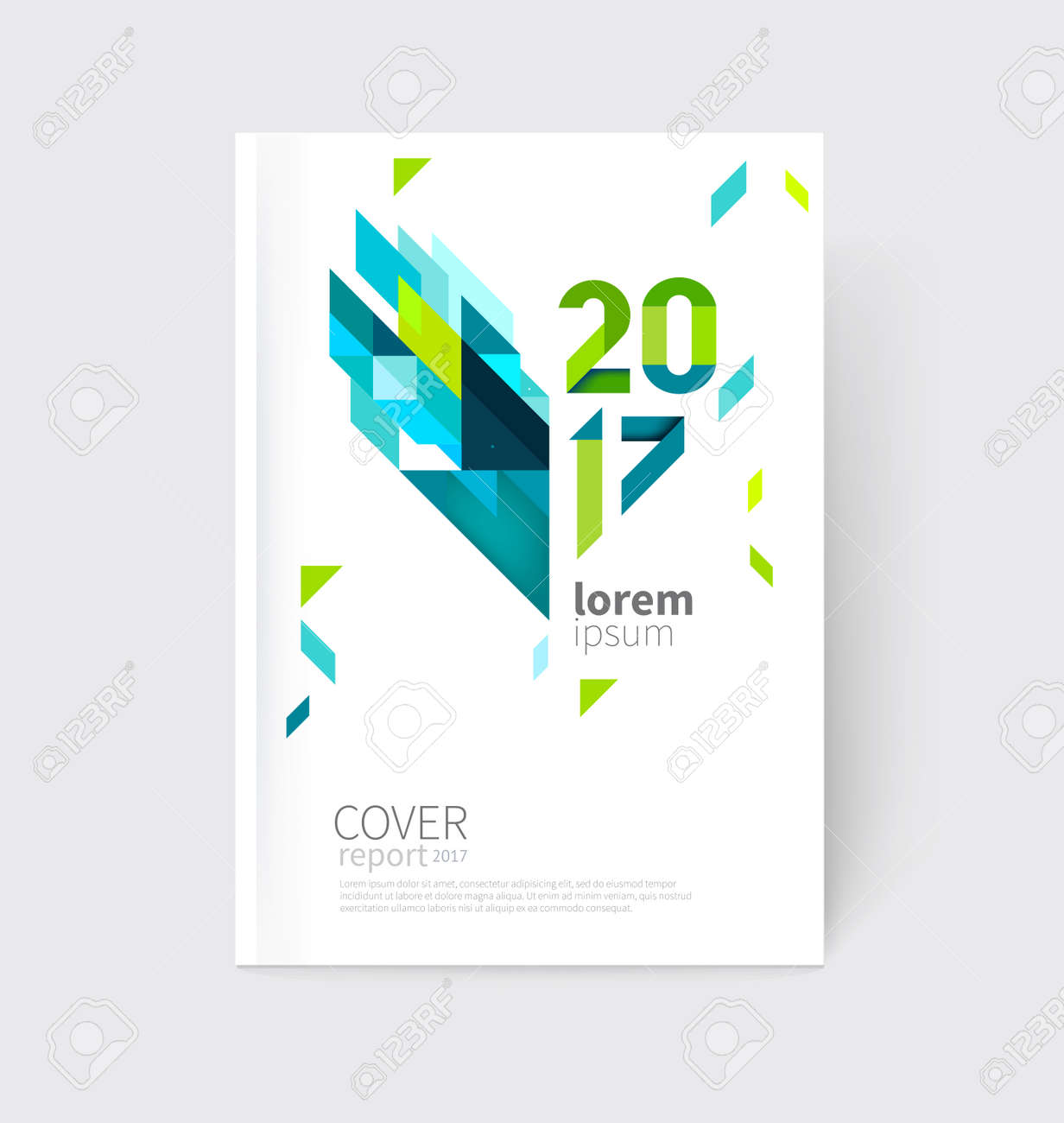 White modern business brochure, leaflet, flyer, cover template. Abstract diagonal background blue and green lines and triangles. - 65663582
