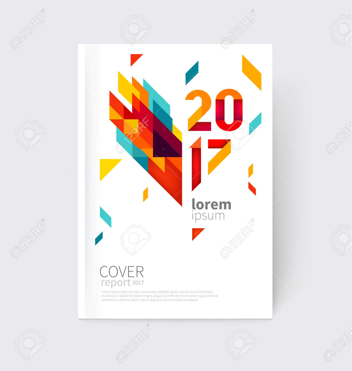 White modern business brochure, leaflet, flyer, cover template. Abstract diagonal background blue, purple, yellow, red and green lines and triangles. - 65663585
