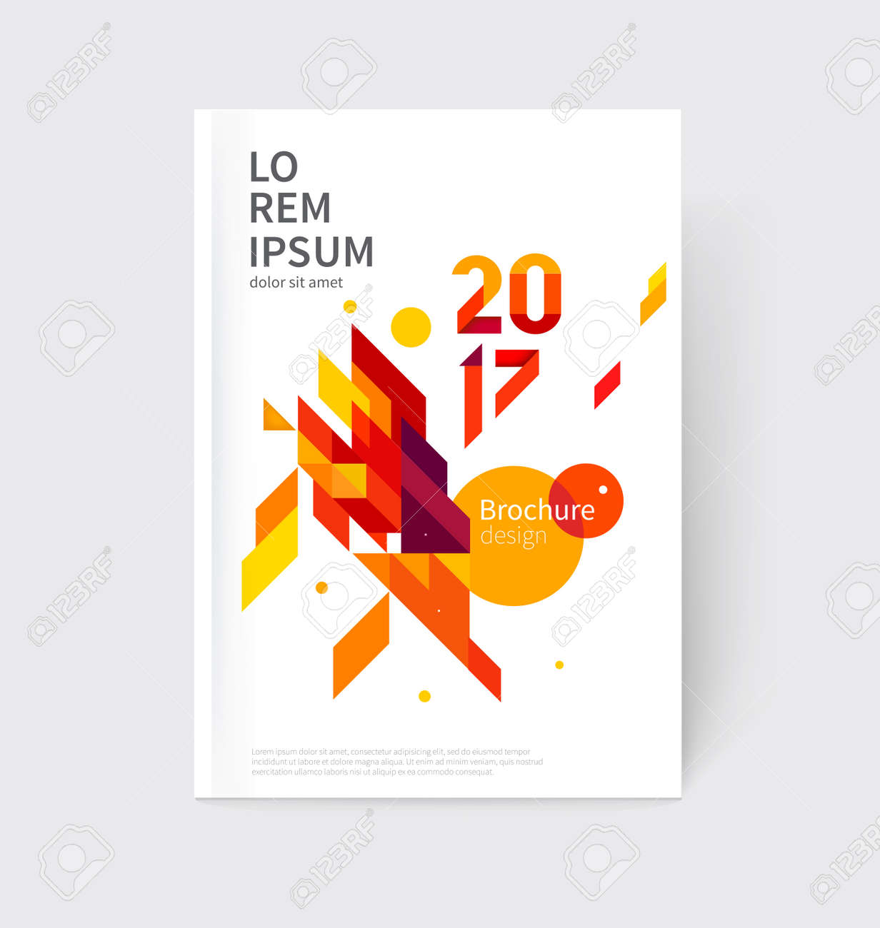 White modern business brochure, leaflet, flyer, cover template. Abstract diagonal background red and yellow lines and triangles. - 69442712
