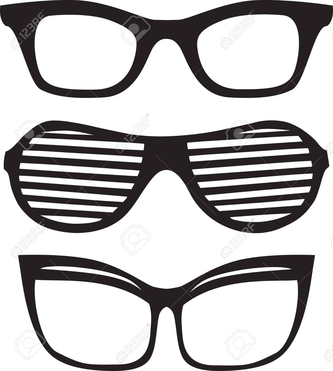 Three Different Glasses Vector Frames On White Background Royalty ...