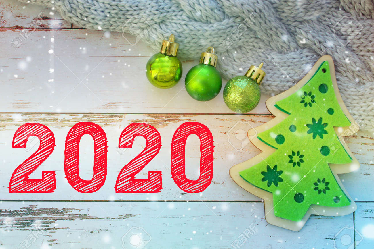 2020. New Year Background. The Numbers 2020. Christmas Decoration