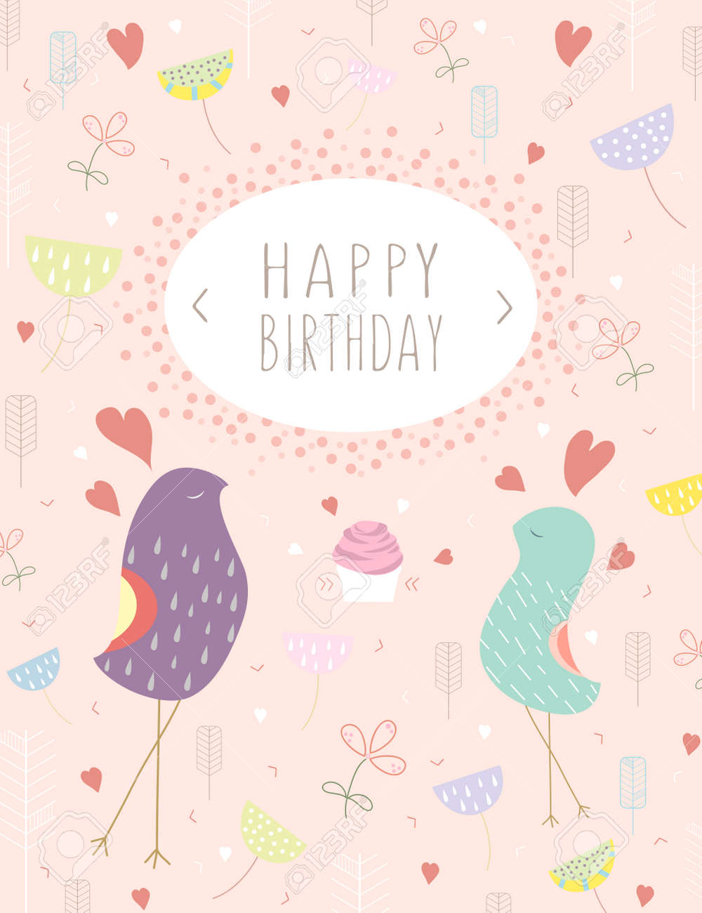 Template happy birthday card greeting template card with birds template happy birthday card greeting template card with birds cake and hearts on pink background bookmarktalkfo Choice Image