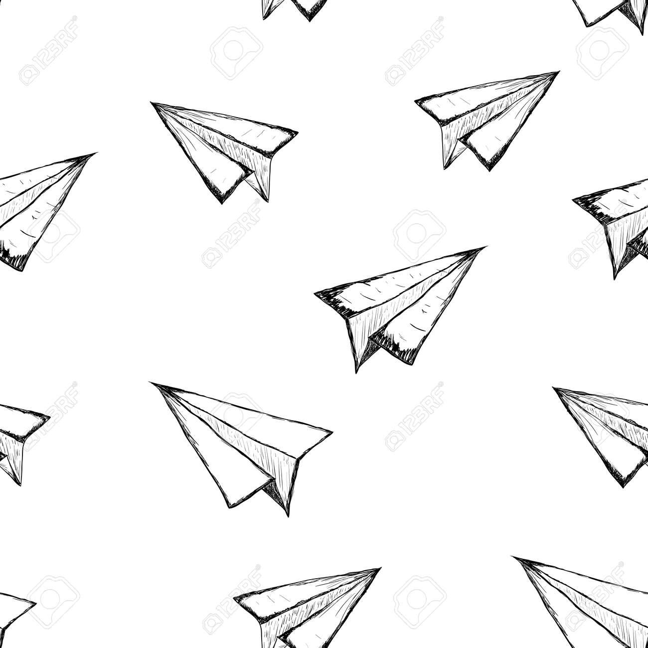 Nahtlose Muster Mit Einem Papierflugzeug Auf Einem Weißen ...