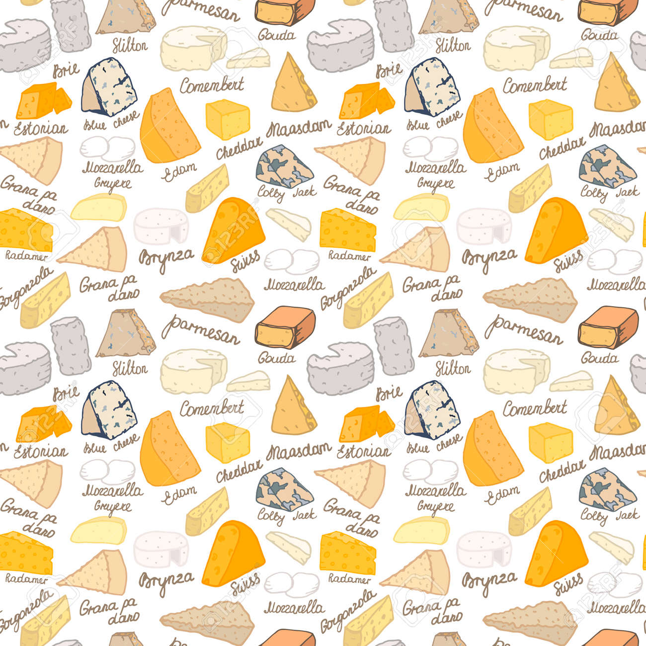Seamless vector pattern with different types of cheese on white background - 53046988