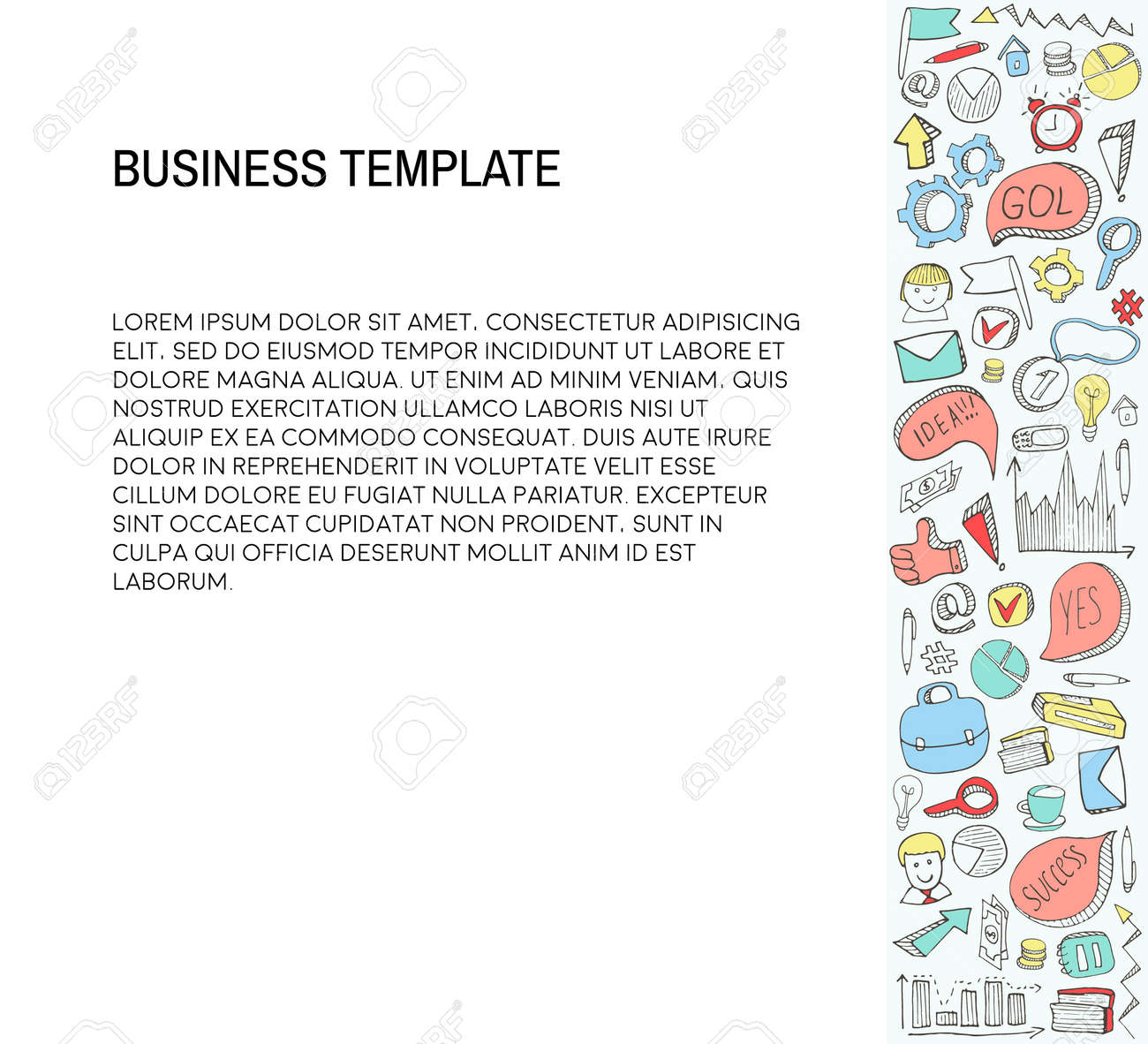 Business Card Template With Doodles Icons Set Sketch Stock Vector