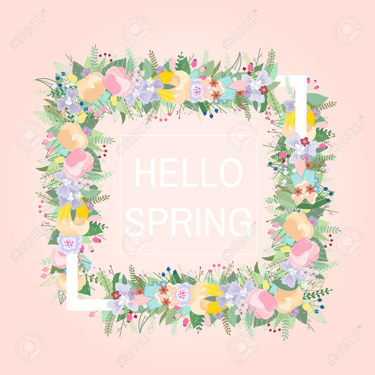 Marco Floral Con Lugar De Texto Diseño Para Crear Tarjetas Tarjetas De Invitación Para Bodas Cumpleaños Etc Ilustración Del Vector