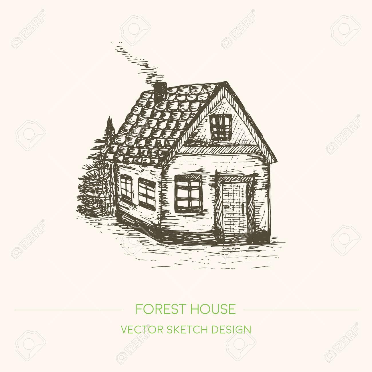 Holzhaus im retro stil skizze vector vintage hintergrund hand gezeichnet alten haus