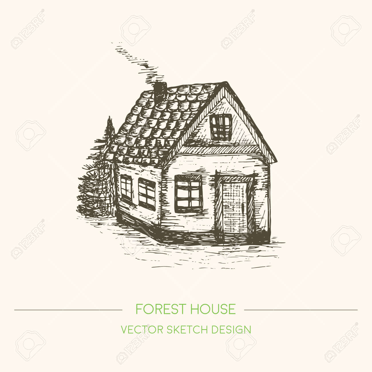 Wood House In Retro Sketch Style Vector Vintage Background