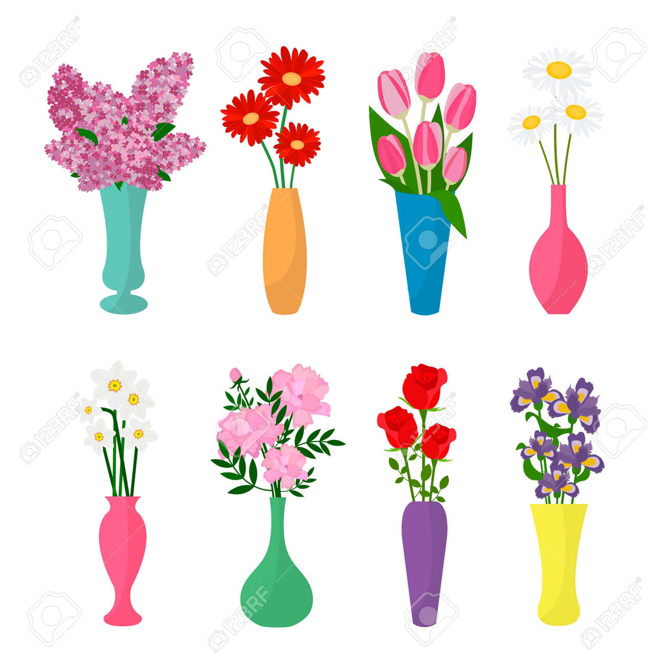 Flowers in vases flower pots icons chamomile rose lilac flowers in vases flower pots icons chamomile rose lilac tulip reviewsmspy