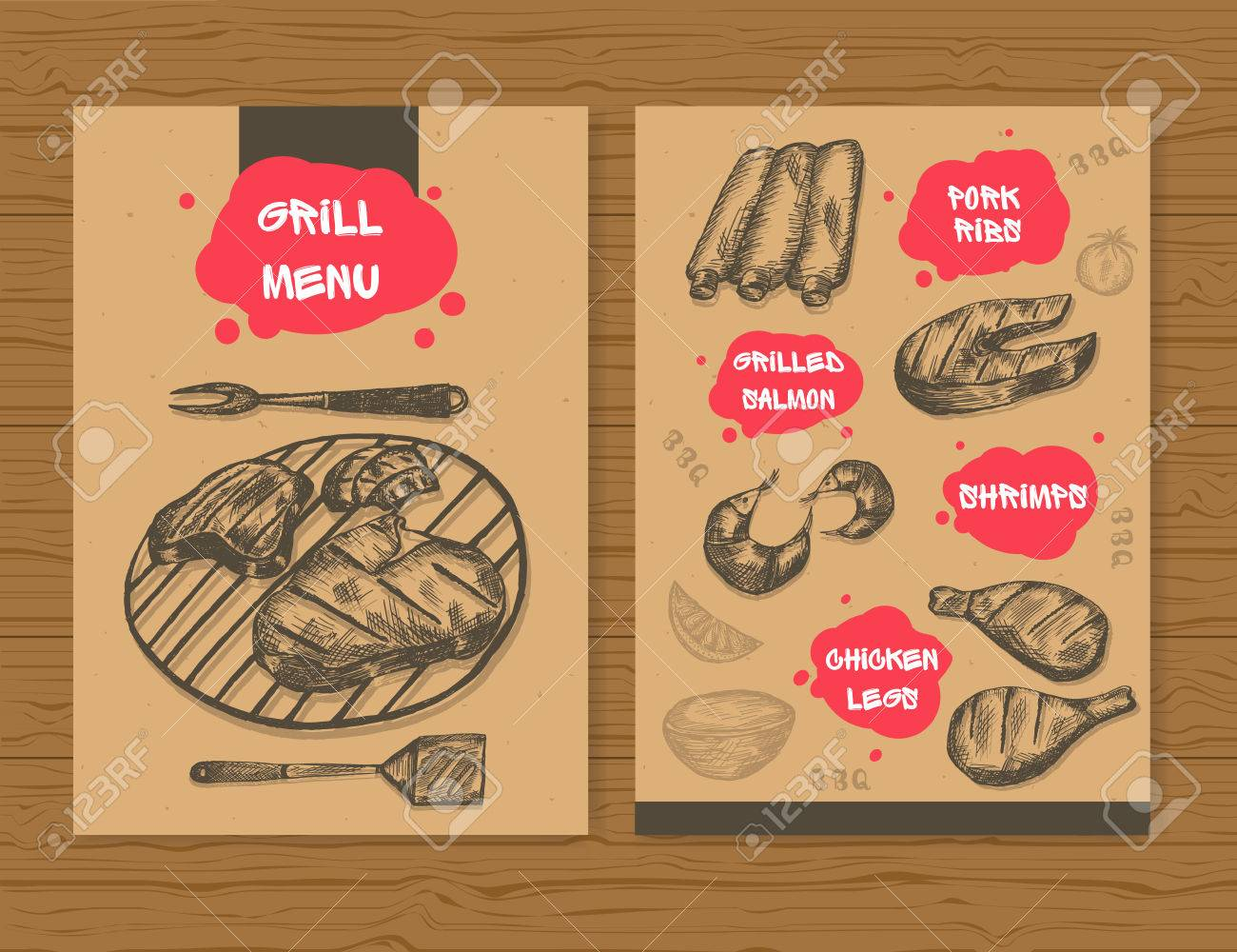 grill menu template ready design bbq menu for restaurant bar