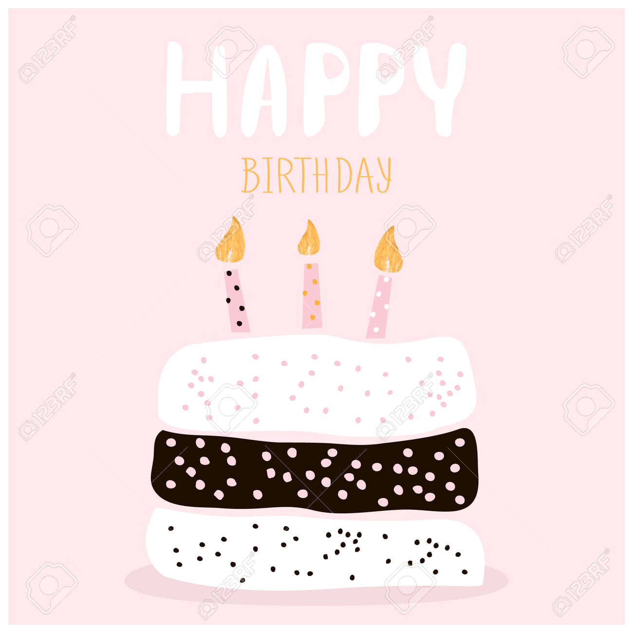 cute cake with happy birthday wish. greeting card template. creative