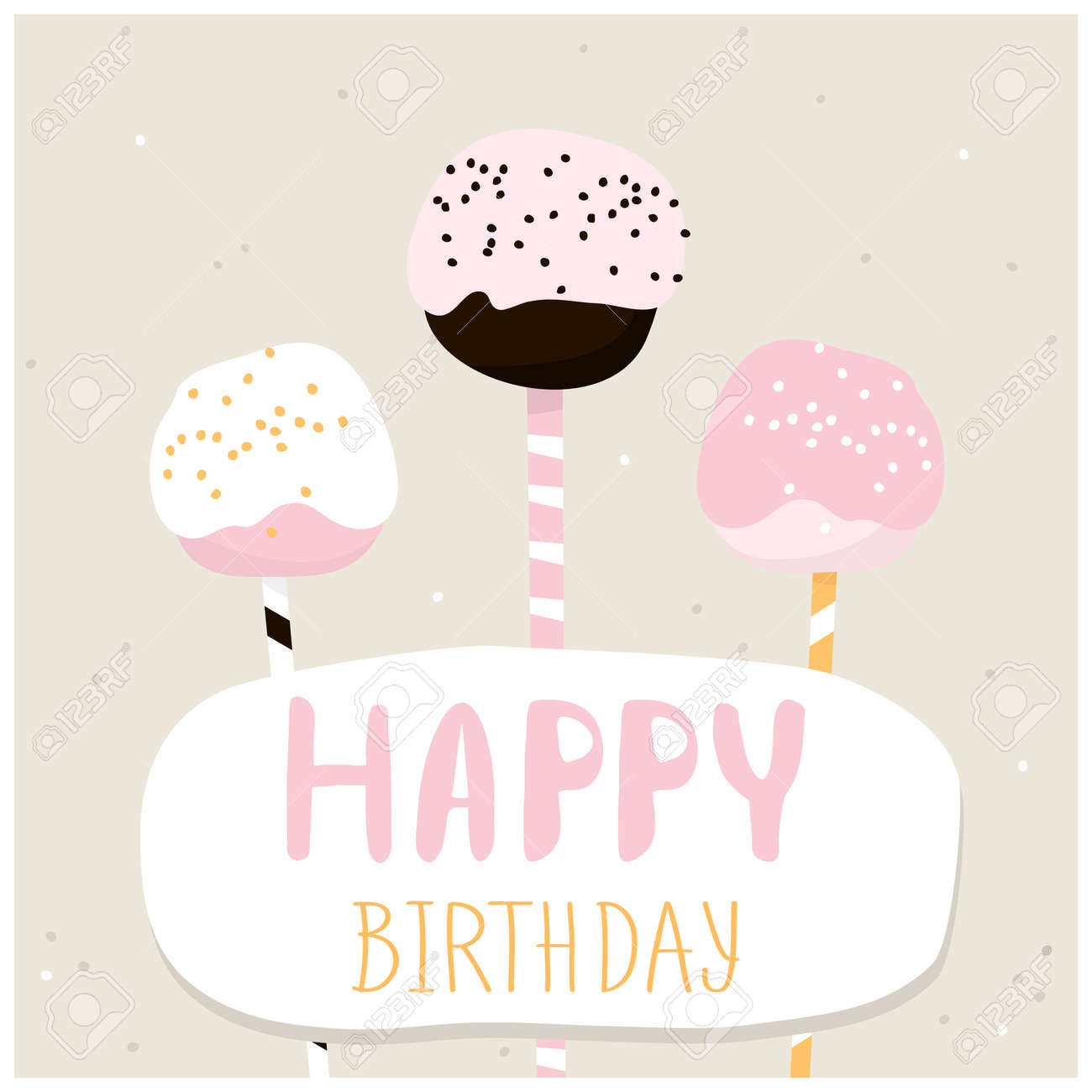 Cute cake pops with happy birthday wish greeting card template cute cake pops with happy birthday wish greeting card template creative happy birthday background kristyandbryce Images