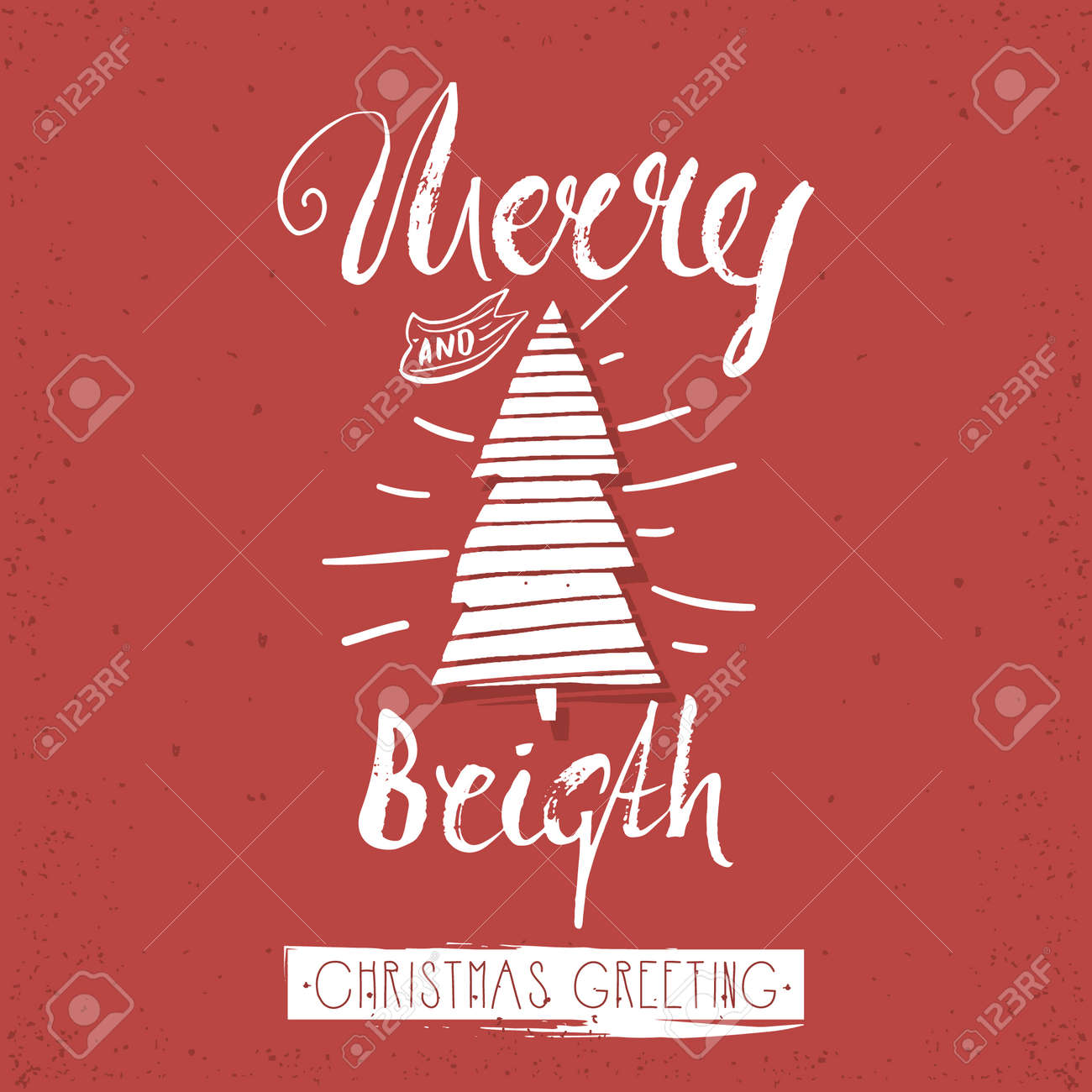 Merry And Bright Trendy Card Template Vintage Hand Drawn Lettering