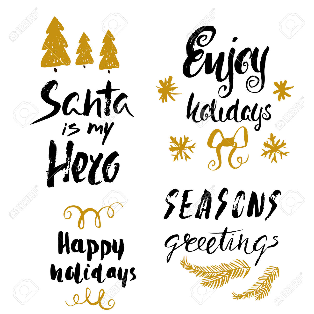 Hand Drawn Holiday Lettering Christmas Collection Of Unique