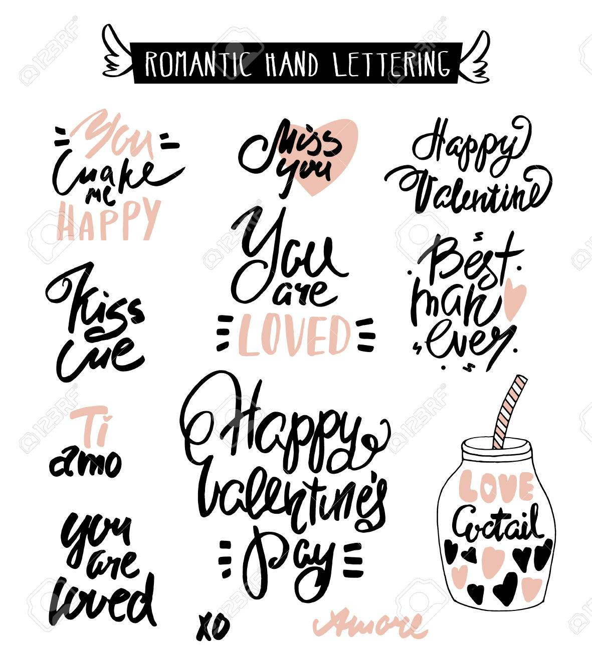Romantic Hand Lettering Love Quotes Beautiful Hand Drawn Lettering