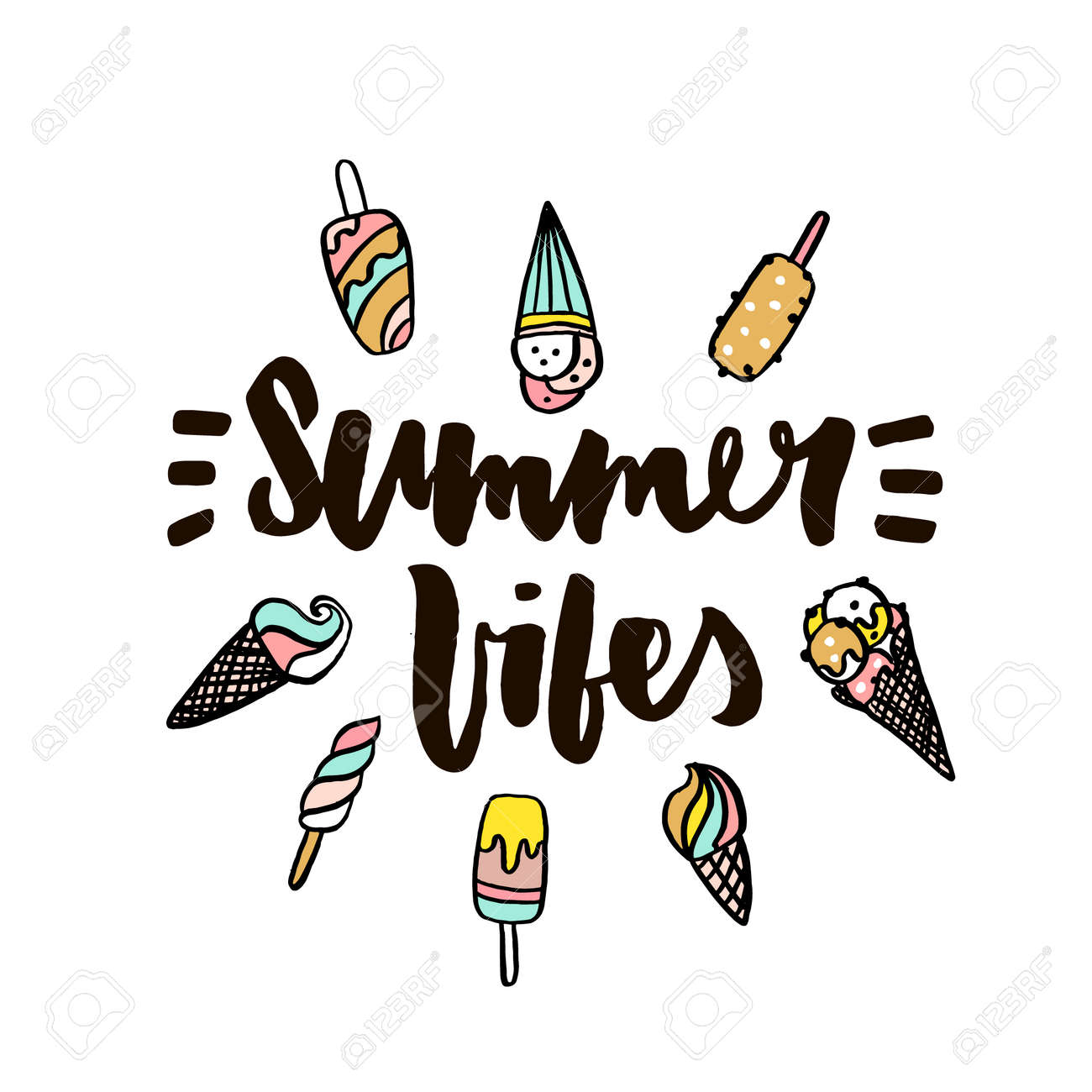 Summer Vibes With Ice Cream Hand Written Lettering Quote For