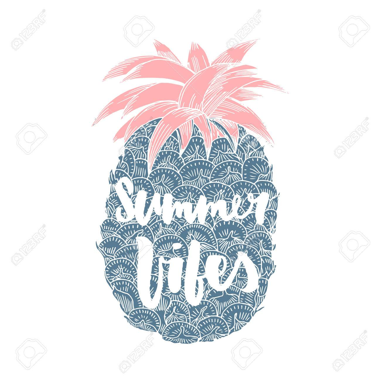 Summer vibes. Hand written lettering quote for poster, card,..