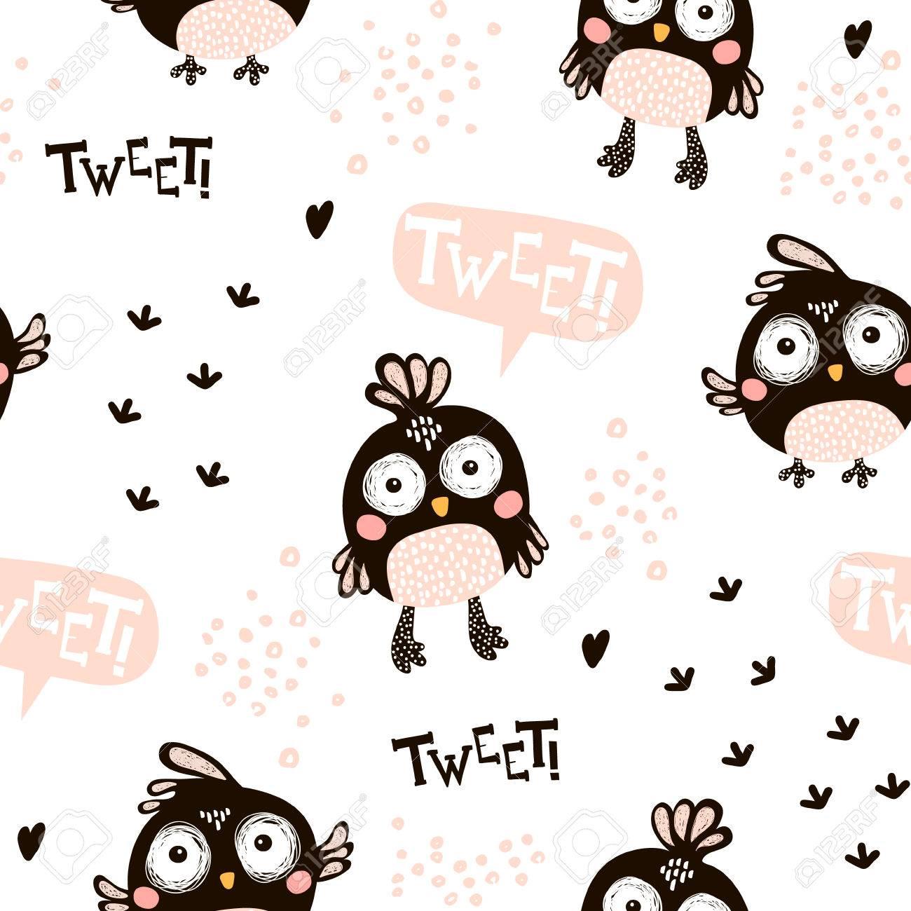Motif Sans Couture Avec Des Oiseaux De Dessin Anime En Style Scandinave Fonds Creatif Enfant Enfant Pour Le Tissu Le Textile Clip Art Libres De Droits Vecteurs Et Illustration Image 84671731