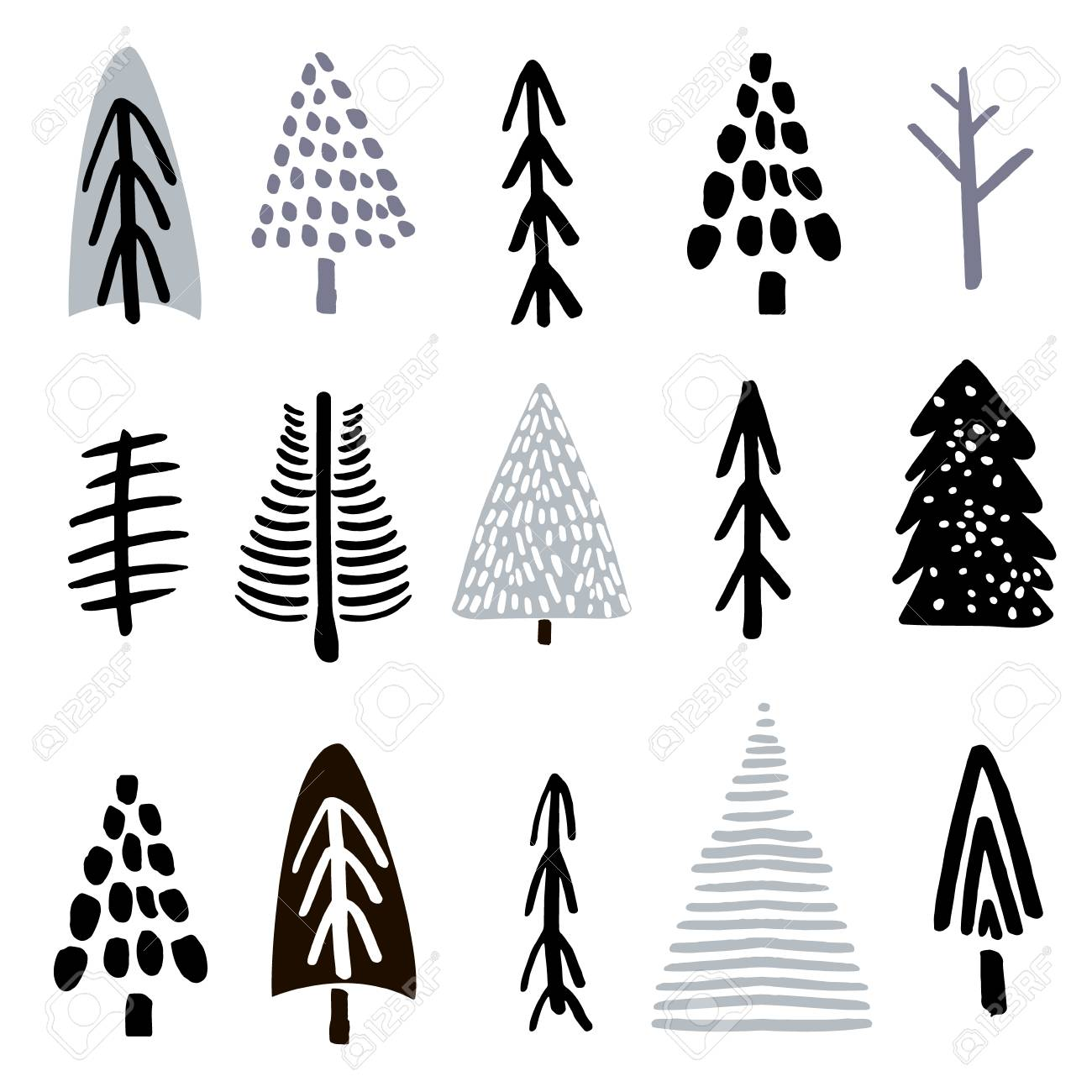 Christmas Trees Silhouette.Collection Christmas Trees Made With Ink Creative Tree Silhouette