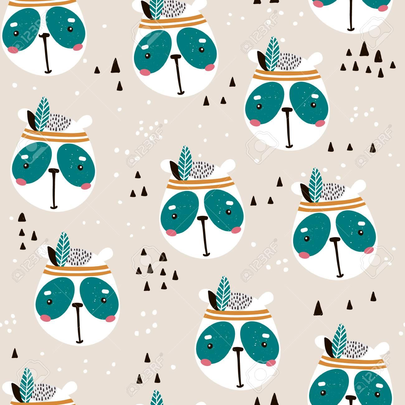 patrón sin fisuras con la linda cara de panda dibujos animados